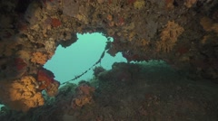 Underwater cave in the sea covered with colorful corals Stock Footage