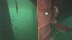 Underwater bottom of the ship and propeller Stock Footage