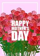 Happy Mothers Day. Large bouquet of red roses. Many colors for holiday women - stock illustration