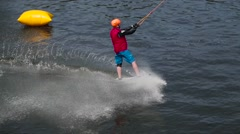 Water skiing on the river Stock Footage