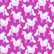 Pink Unicorn seamless pattern. Fantastic animal on purple background. Fabulou - stock illustration