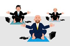 Business yoga for corporate office workers. Businessmen sitting in lotus posi Stock Illustration