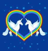 Two blue unicorn and rainbow in heart shape. Fantastic animals on blue sky. L Stock Illustration
