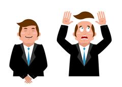 Businessman set. Joyful man in suit. Man and wig. Scared manager lost his hai Stock Illustration