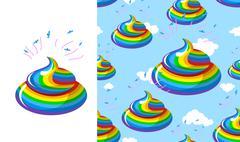 Shit Unicorn pattern. Turd rainbow colors. Kal rainbow fantastic beast. Stool Stock Illustration
