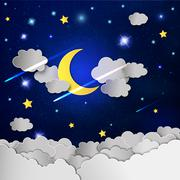 Moon and stars in the clouds. - stock illustration