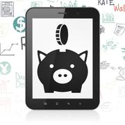 Money concept: Tablet Computer with Money Box With Coin on display - stock illustration