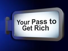 Finance concept: Your Pass to Get Rich on billboard background - stock illustration