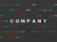 Business concept: Company on wall background Piirros