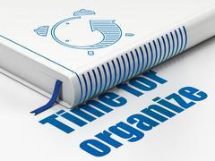 Timeline concept: book Alarm Clock, Time For Organize on white background Stock Illustration