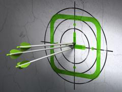 Time concept: arrows in Watch target on wall background - stock illustration
