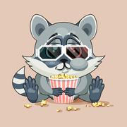 Raccoon cub watching a movie - stock illustration