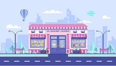 Ice - cream cafe - stock illustration