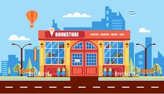 Nice book store - stock illustration