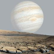 Mars surface with jupiter view. Elements of this image furnished by NASA - stock illustration