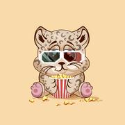 Leopard cub watching a movie - stock illustration