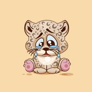 Sad Leopard cub crying Stock Illustration