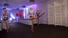 beautiful girls in sailor costumes dancing in a white room - stock footage