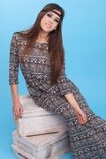 Portrait of beautiful glamor hipster young hippie woman in studio. Stock Photos