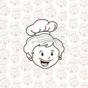 grandma chef cartoon - stock illustration