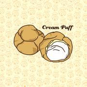delicious cream puff - stock illustration
