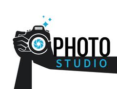 Photographer hands with camera flat illustration for icon or logo template Stock Illustration