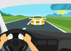 Man is driving racing speed car - stock illustration