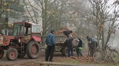 People Dumped Leaves on a Tractor Trailer on Street Covered With Fog in Stock Footage
