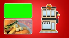 Fast Food  - Vector Animation Hotel - Green Screen - red 01 Stock Footage
