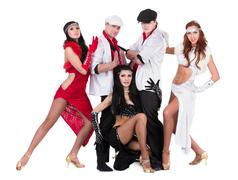 cabaret dancer team dressed in vintage costumes - stock photo