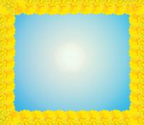 Frame from yellow flowers of chrysanthemum Stock Illustration