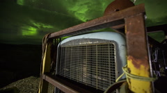 Northern lights over machinery - stock footage
