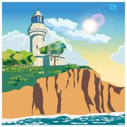 Lighthouse on a cliff Stock Illustration