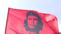 Flag in the wind Che Guevara Stock Footage