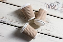 Laying ripple paper cups. - stock photo