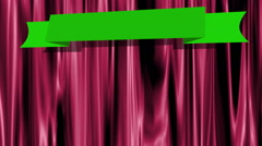 Green screen banner with drop shadow on deep pink theater curtains - stock footage