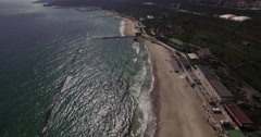 Waves and the sea with embankment aerial shoot Stock Footage