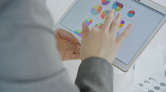 Close-up of hand working on tablet with graphs Stock Footage