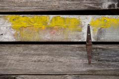 Log Wall with Rusty Hinge Stock Photos