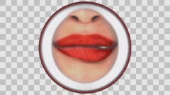 3D RED LIPS BITING 4K VIDEO ANIMATION. TRANSPARENT ALPHA CHANNEL. Stock Footage