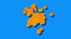 Abstract paint splatter style blobs cartoon motion background orange blue Stock Footage