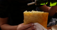 Eating a Pastry envelope with Codfish (Pastel de Bacalhau) Stock Footage
