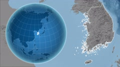 South Korea and Globe. Set of five animations plus matte Stock Footage