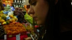 Woman in a Fruit Market Stock Footage