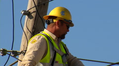 OG&E Linemen Crew Fixing Power Lines Tight Shot Stock Footage