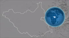 South Sudan and Globe. Set of five animations plus matte Stock Footage