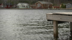 Close up of a Pier on a Lakeshore. Stock Footage