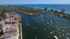 Weekend Bocabash Boca Raton FL aerial 4k footage Stock Footage