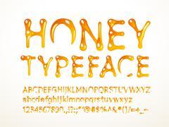 Vector honey typeface Stock Illustration