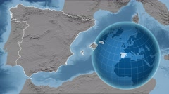 Spain and Globe. Set of five animations plus matte Stock Footage
